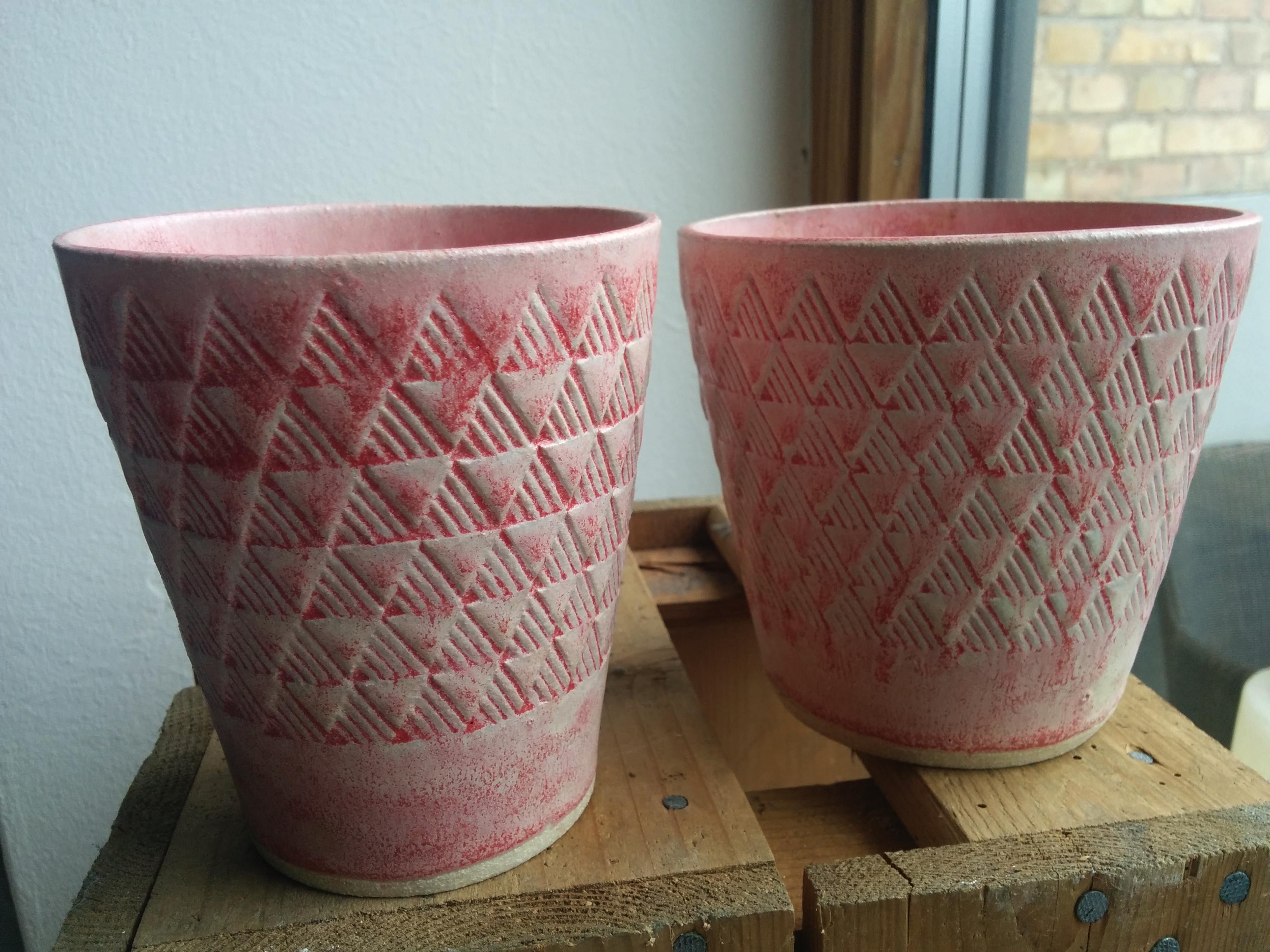 Unika potter med print